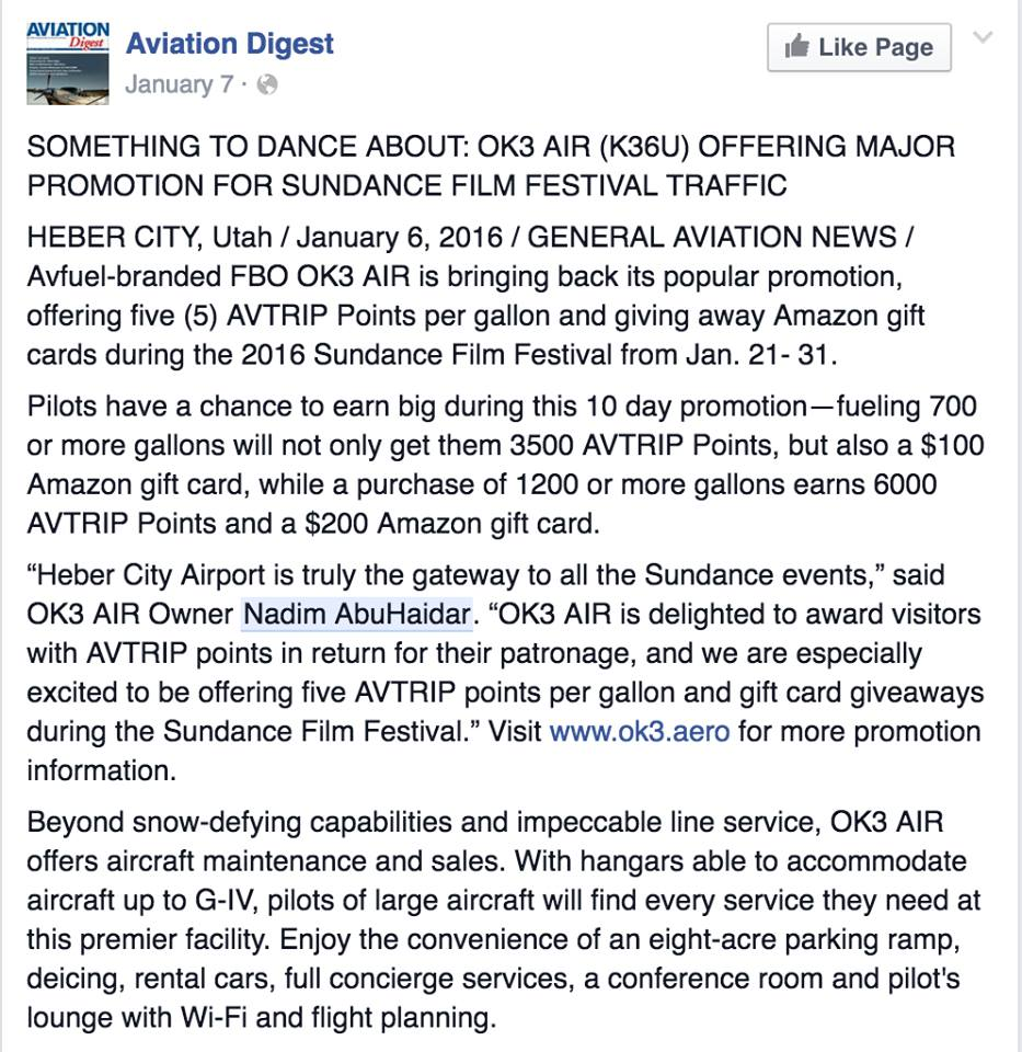 OK3Air plane info-Aviation Digest FB post- Jan 7 2016